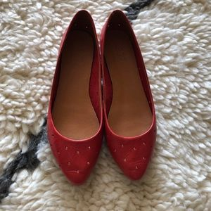 Madewell red perforated flats